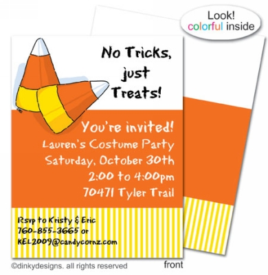 Candy corns flat notes, invitations or announcements, personalized