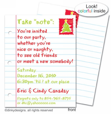 Letter to Santa flat notes, invitations or announcements, personalized