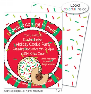 Christmas cookies flat notes, invitations or announcements, personalized