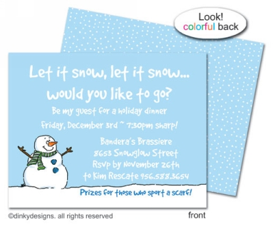 Smiling snowman flat notes, invitations or announcements, personalized