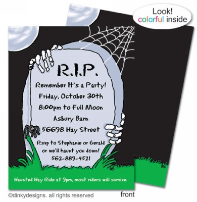 R.I.P. Remember it's a Party flat notes, invitations or announcements, personalized