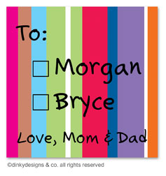 Seasonal stripes gift tags or insert cards, personalized