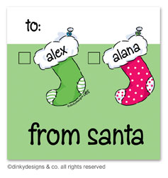 Stocking family Christmas gift tags or insert cards, personalized