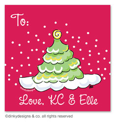 Scallop-style Christmas tree gift tags or insert cards, personalized