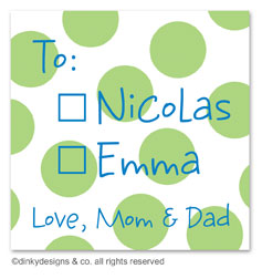 Lime holiday dots gift tags or insert cards, personalized