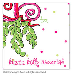Mistletoe Christmas kisses gift tags or insert cards, personalized
