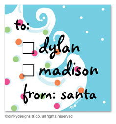 Blue - white Christmas gift tags or insert cards, personalized