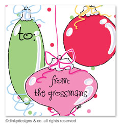 Jingle bulbs gift tags or insert cards, personalized