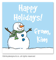 Smiling snowman gift tags or insert cards, personalized