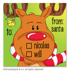 Bruce Reindeer gift tags or insert cards, personalized