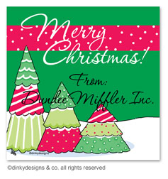 Christmas tree row gift tags or insert cards, personalized