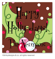 Pink berry holly gift tags or insert cards, personalized