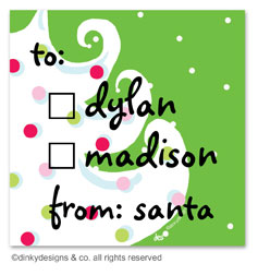 Green - white Christmas gift tags or insert cards, personalized
