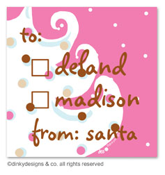 Pink - white Christmas gift tags or insert cards, personalized
