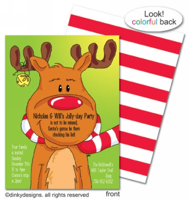 Bruce Reindeer invitations, announcements or holiday greeting cards, personalized