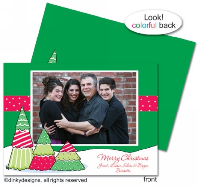 Christmas tree row invitations, announcements or holiday greeting cards, personalized with digitally printed photos