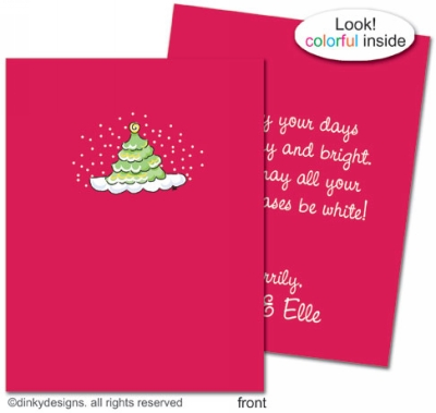 aab25c2c9258d Scallop-style Christmas tree folded holiday greeting cards or notes ...