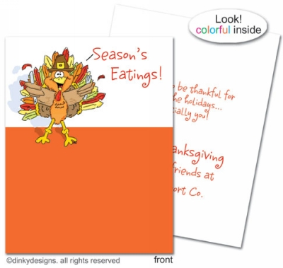 Thomas Turkey folded holiday greeting cards or notes, personalized