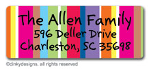 Seasonal stripes return address labels, personalized