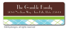 Chocolate argyle return address labels, personalized