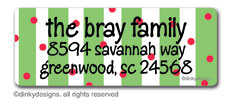 Christmas stripes return address labels, personalized
