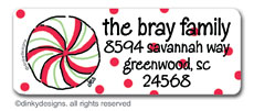 Christmas candy return address labels