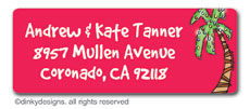 Holiday palm tree return address labels, personalized