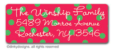 Holiday dots return address labels, personalized