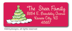 Scallop-style Christmas tree return address labels, personalized
