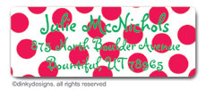 Cranberry holiday dots return address labels, personalized