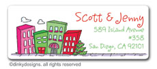 Urban living - holiday return address labels, personalized