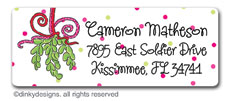 Mistletoe Christmas kisses return address labels, personalized