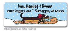 Dog sled snowman return address labels, personalized