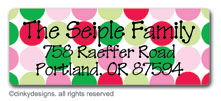 Polka dot holiday return address labels, personalized