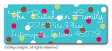 Blue cranberry polka dots return address labels, personalized