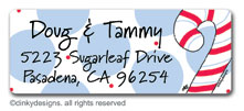 Dandy candy canes return address labels, personalized