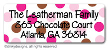 Chocolate and pink dots return address labels, personalized