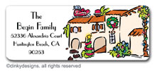 Mi casa Christmas return address labels, personalized