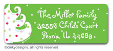 Green - white Christmas return address labels, personalized by Dinky Designs
