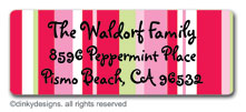 Peppermint pinstripes return address labels, personalized