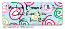 Curly swirly dots - blue return address labels, personalized