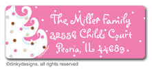 Pink - white Christmas return address labels, personalized