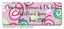 Curly swirly dots - lilac return address labels, personalized