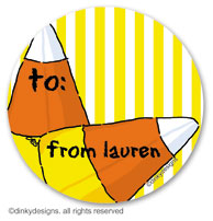 Candy corns large round stickers or labels 2.5