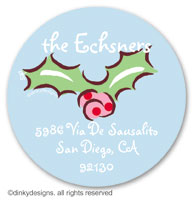 Polka dots holly large round stickers or labels 2.5