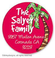 Holiday palm tree large round stickers or labels 2.5