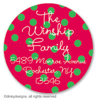 Holiday dots large round stickers or labels 2.5