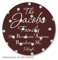 Cocoa sage dots large round stickers or labels 2.5