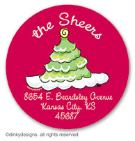 Scallop-style Christmas tree large round stickers or labels 2.5