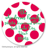 Cranberry holiday dots large round stickers or labels 2.5